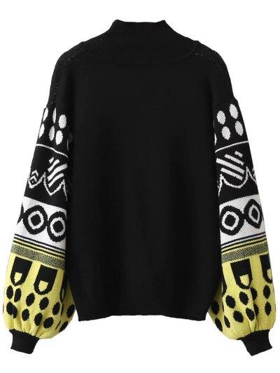 Lantern Sleeve Patterned Sweater - BLACK ONE SIZE Mobile