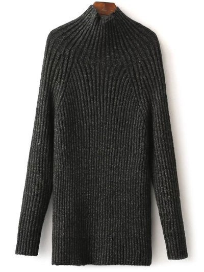 Tight Raglan Sleeve Ribbed Sweater - BLACKISH GREEN ONE SIZE Mobile