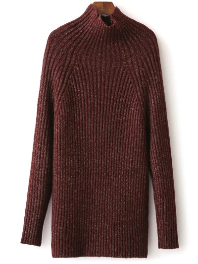 Tight Raglan Sleeve Ribbed Sweater - BURGUNDY ONE SIZE Mobile