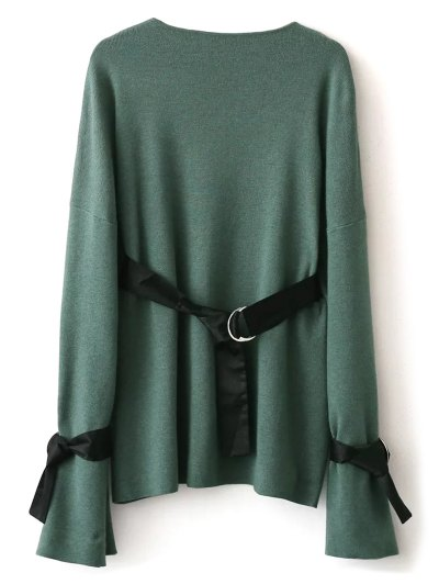 Round Neck Belted Knitwear - GREEN ONE SIZE Mobile