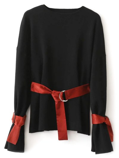Round Neck Belted Knitwear - BLACK ONE SIZE Mobile