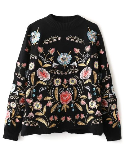 Floral Embroidered Sweater - BLACK ONE SIZE Mobile