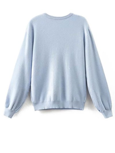 Animal Embroidered Fuzzy Sweater - LIGHT BLUE S Mobile