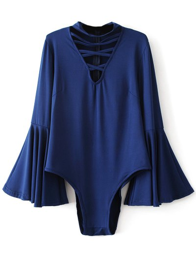 Strappy Flare Sleeve Bodysuit - DEEP BLUE S Mobile