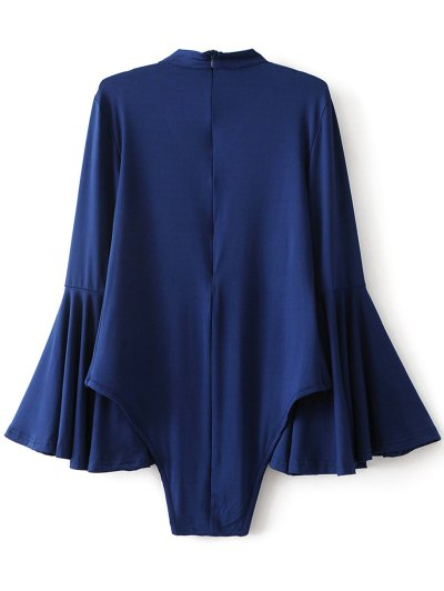 Strappy Flare Sleeve Bodysuit - DEEP BLUE L Mobile