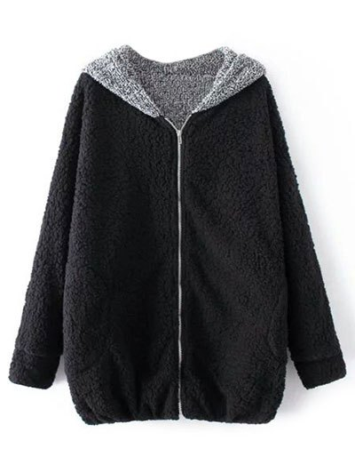 Cartoon Hooded Zipper Sherpa Coat - BLACK ONE SIZE Mobile