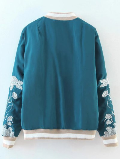 Zipper Floral Embroidered Bomber Jacket - LAKE BLUE L Mobile