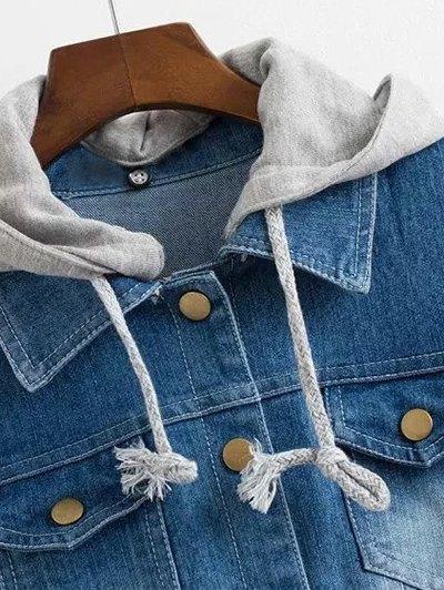 Hooded Jean Panel Baseball Jacket - BLUE L Mobile