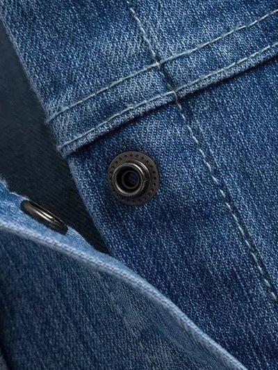 Round Neck Jean Jacket - DENIM BLUE M Mobile