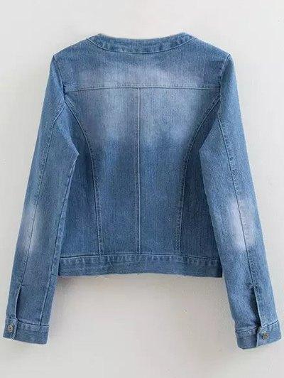 Round Neck Jean Jacket - DENIM BLUE XL Mobile