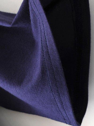 Drop Shoulder Choker Tee - VIOLET BLUE S Mobile