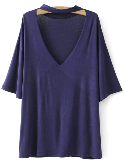 Drop Shoulder Choker Tee - VIOLET BLUE M Mobile