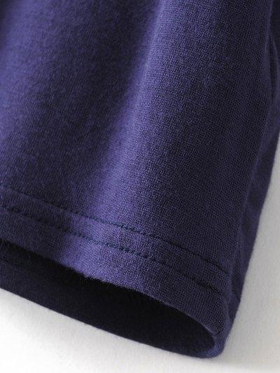 Drop Shoulder Choker Tee - VIOLET BLUE L Mobile