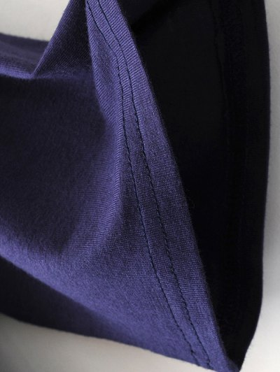 Drop Shoulder Choker Tee - BLACK L Mobile