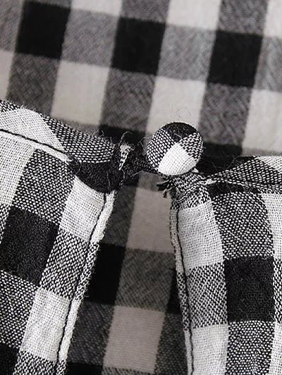 Checked Lacework Blouse - PLAID M Mobile