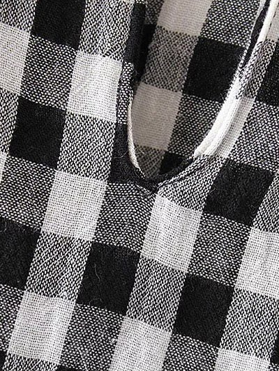 Checked Lacework Blouse - PLAID L Mobile