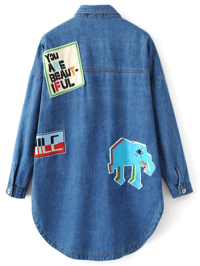 Pocket Cartoon Patch Jean Shirt - DENIM BLUE S Mobile
