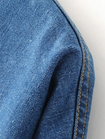 Pocket Cartoon Patch Jean Shirt - DENIM BLUE L Mobile
