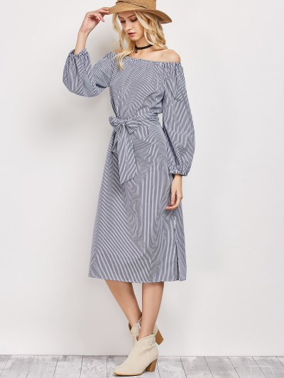 Blouson Sleeve Off The Shoulder Dress - BLUE AND WHITE L Mobile