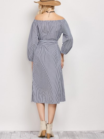 Blouson Sleeve Off The Shoulder Dress - BLUE AND WHITE S Mobile