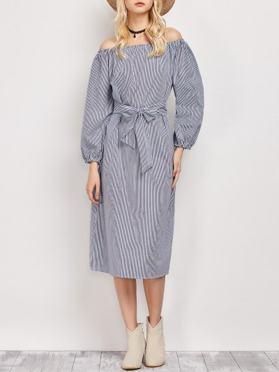 Blouson Sleeve Off The Shoulder Dress - Blue And White