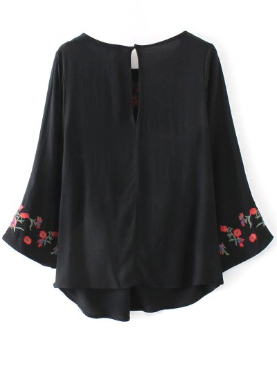 Floral Embroidered Knotted Blouse - BLACK L Mobile