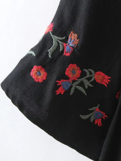 Floral Embroidered Knotted Blouse - BLACK M Mobile