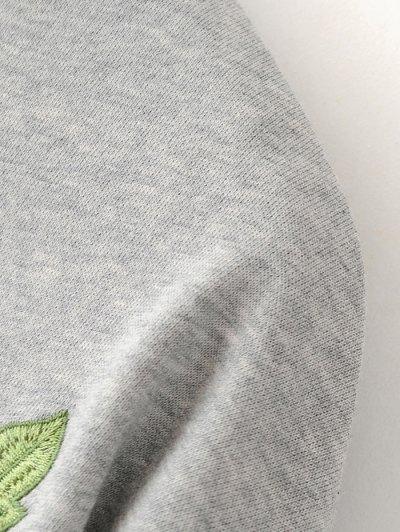 Floral Embroidered Sweatshirt Dress - BLACK M Mobile