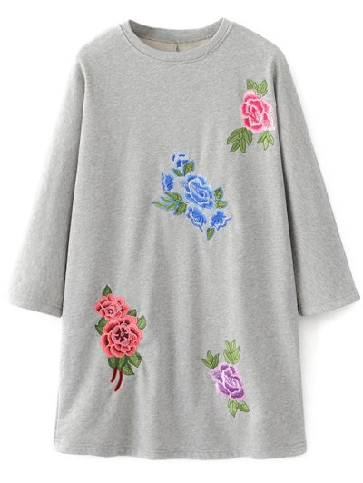 Floral Embroidered Sweatshirt Dress - GRAY L Mobile