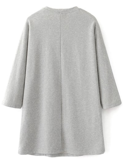 Floral Embroidered Sweatshirt Dress - GRAY M Mobile
