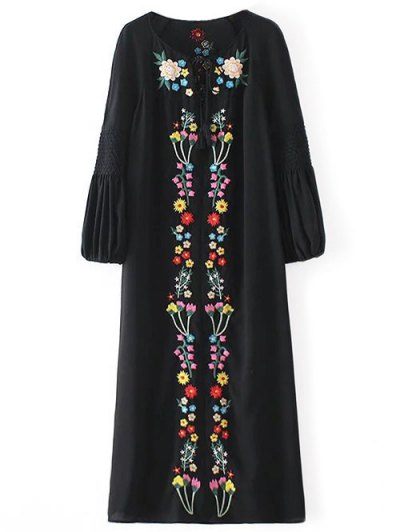 Floral Embroidered Tunic Midi Dress - BLACK L Mobile