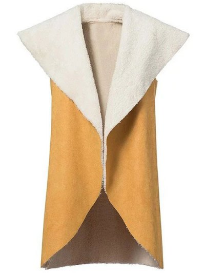 Faux Shearling Shawl Collar Waistcoat - YELLOW S Mobile
