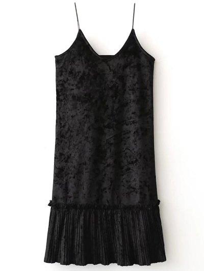 Pleuche Pleated Cami Dress - BLACK ONE SIZE Mobile
