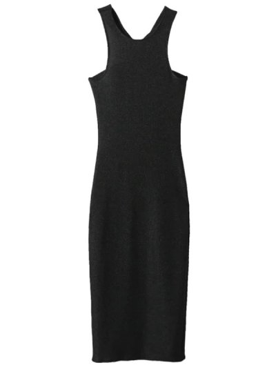 Glitter Midi Pencil Dress - BLACK L Mobile
