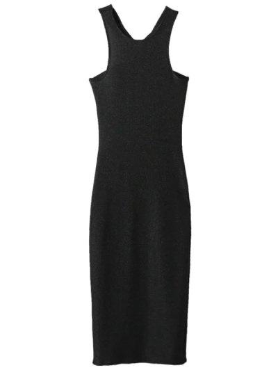 Glitter Midi Pencil Dress - BLACK S Mobile