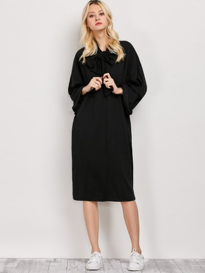 Wide Sleeve Pussy Bow Dress - BLACK L Mobile