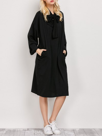 Wide Sleeve Pussy Bow Dress - BLACK M Mobile