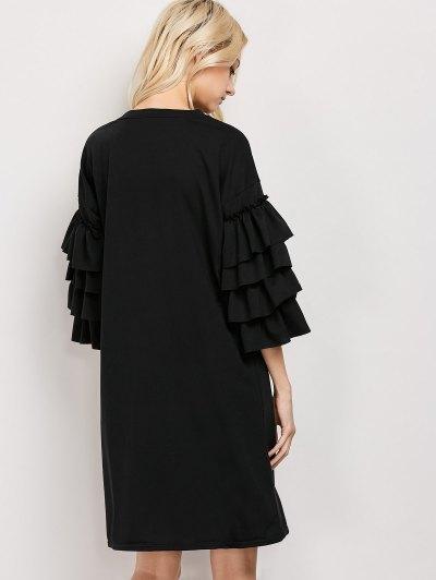 Frilled Sleeve Tunic Dress - BLACK L Mobile