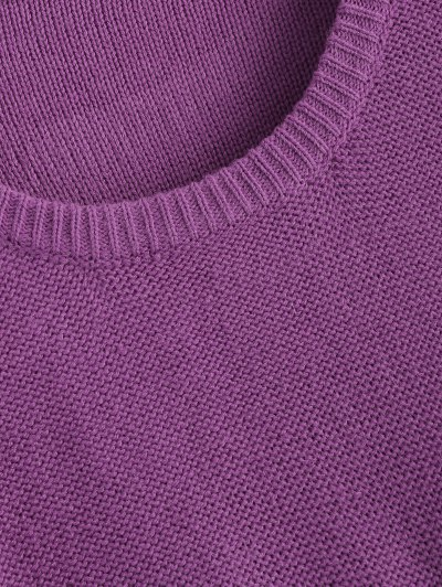 Cable Jumper Dress - PURPLE ONE SIZE Mobile