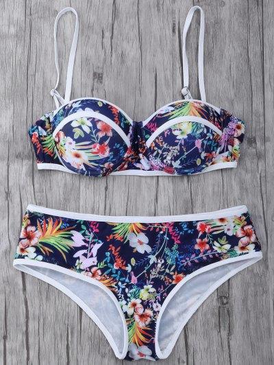Push Up Floral Swimsuit Slip - COLORMIX L Mobile