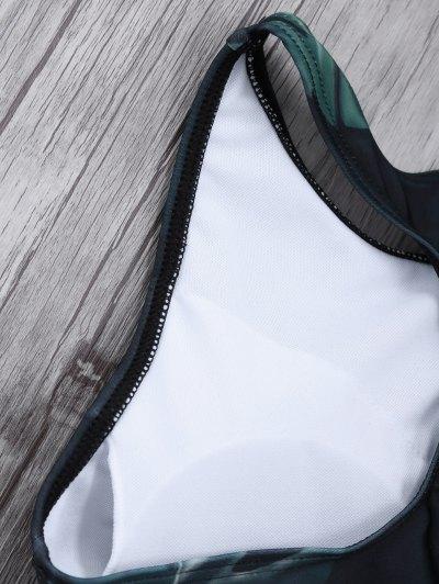 Leaf Print High Neck Sporty Bikini - BLACK L Mobile
