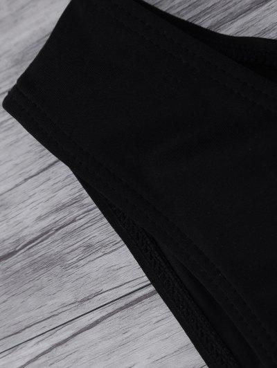 Leaf Print High Neck Sporty Bikini - BLACK M Mobile