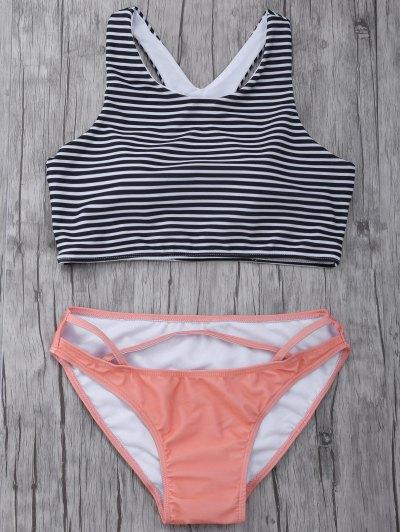 Striped High Neck Cutout Bikini Set - Orangepink
