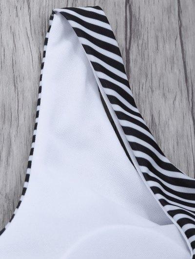 Striped High Neck Cutout Bikini Set - ORANGEPINK S Mobile