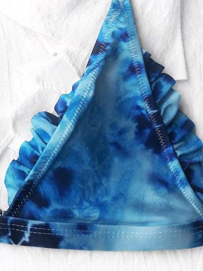 Frilled Plunge Thong Bikini Set - BLUE S Mobile