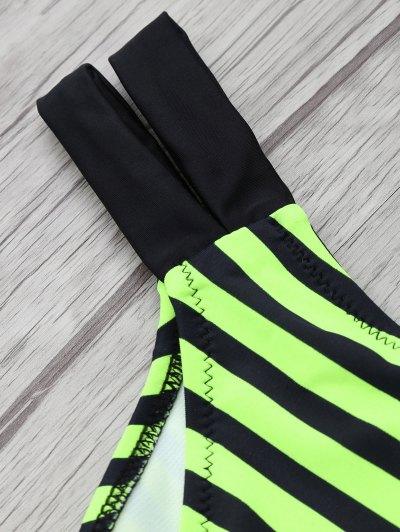Halter Two Tone Striped Bikini - NEON GREEN 2XL Mobile