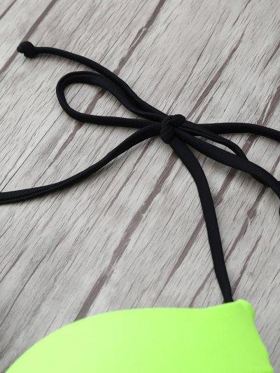 Halter Two Tone Striped Bikini - NEON GREEN S Mobile