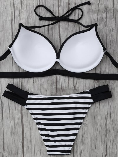 Halter Two Tone Striped Bikini - WHITE AND BLACK XL Mobile