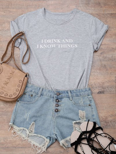 Short Sleeve Letter Boyfriend T-Shirt - GRAY L Mobile