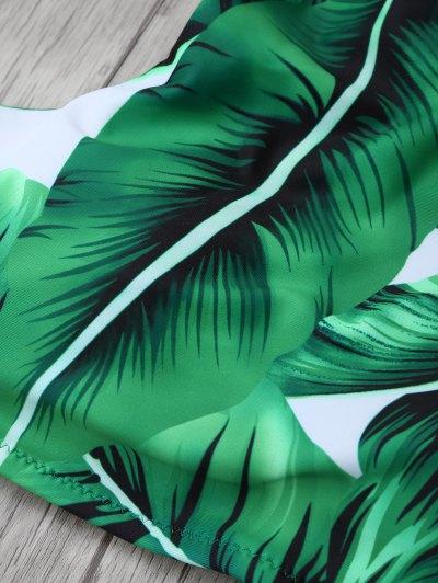 Leaf Print High Neck Stringy Bikini - GREEN S Mobile
